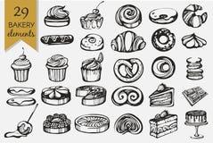 传染媒介设置与面包店产品 图库摄影