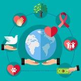 传染媒介设置了与爱和关心的标志慈善组织的在世界上 爱、支持和捐赠概念 皇族释放例证