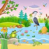 传染媒介设置了与自然和动物在儿童` s动画片样式 免版税库存图片