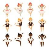传染媒介设置了与逗人喜爱的矮小的芭蕾舞女演员以各种各样的舞步 芭蕾芭蕾舞短裙和游泳衣的白种人和非洲的女孩 免版税库存照片