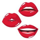 传染媒介设置了性感和肉欲的在嘴唇的嘴唇和穿甲象在红色口红的 在白色背景的传染媒介孤立 库存例证