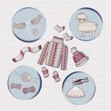 传染媒介设置了编织的crocheet手冬季衣服 库存例证