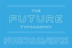 传染媒介设计师未来派字体-最小的设计 等高英语字母表 概述拉丁字母和数字 库存例证