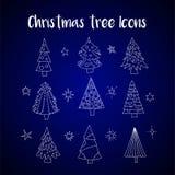传染媒介象设置与圣诞树 免版税库存图片