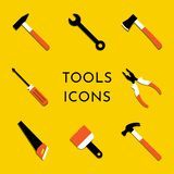 传染媒介象设置与锤子,拔钉器,轴,锯,钳子,油漆刷,螺丝刀 家庭修理和工作工具签字 库存例证