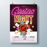 传染媒介赌博娱乐场夜与赌博的设计元素的飞行物例证和在砖墙上的发光的霓虹灯字法 向量例证