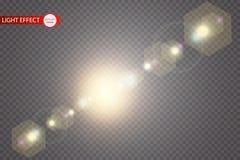 传染媒介透明阳光特别透镜火光光线影响 与光芒和聚光灯的太阳闪光 向量例证