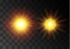 传染媒介透明阳光特别透镜火光光线影响 圣诞节抽象样式 闪耀的不可思议的微尘 向量例证