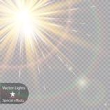 传染媒介透明阳光特别透镜火光光线影响 免版税库存图片