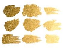 传染媒介金油漆污迹冲程污点集合 抽象金子glitteri 库存照片