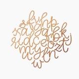 传染媒介金黄箔小写字母表 独特的数字式手拉的金子闪烁字体 在白色backgrou隔绝的手写的abc集合 皇族释放例证