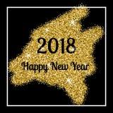传染媒介金黄闪烁第2018年 新年好和圣诞快乐概念 免版税库存照片
