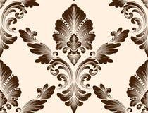 传染媒介锦缎无缝的样式元素 古典豪华古板的锦缎装饰品,皇家维多利亚女王时代的无缝的纹理 库存图片