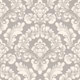 传染媒介锦缎无缝的样式元素 古典豪华古板的锦缎装饰品,皇家维多利亚女王时代的无缝的纹理 免版税库存图片
