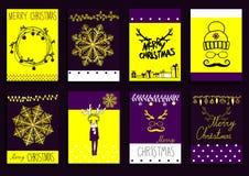 传染媒介集合圣诞节书法设计元素 免版税库存照片