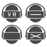 传染媒介集合象虚拟现实或vr剪影 库存例证