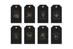 传染媒介集合illustartion商标和设计模板或者徽章 有机和eco蜂蜜标签和标记与蜂 线性 库存例证