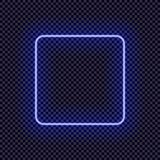 传染媒介霓虹框架,空白的边界模板,光亮方形的框架 皇族释放例证