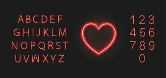 传染媒介霓虹红心象和五颜六色的字体,类型在黑暗的背景隔绝的集合,婚礼,爱标志 皇族释放例证