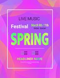 传染媒介音乐节海报 抽象横幅 明亮的时髦颜色 春天活节日例证 紫外背景与 库存例证