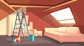 传染媒介顶楼修理 阁楼,顶楼的整修 向量例证