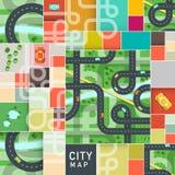 传染媒介顶视图与路和汽车的城市地图 免版税库存照片