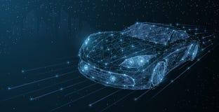 传染媒介高速行动汽车夜城市驱动 抽象在深蓝都市风景背景的导线低poy汽车例证 向量例证