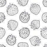传染媒介黑白草莓无缝的样式 向量例证