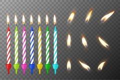 传染媒介3d现实另外生日聚会colofful蜡石蜡燃烧蛋糕蜡烛和一个蜡烛的另外火焰 库存照片