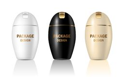传染媒介3d设置了包装的奶油的,香波,肥皂,化妆用品产品大模型塑料光滑的现实瓶子容器 广告的设计 向量例证