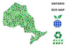 传染媒介Eco绿色拼贴画安大略省地图 向量例证