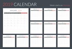 传染媒介eps10例证,在星期一2019本日历模板,计划者,12页,星期开始图片