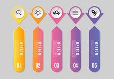 传染媒介Infographics元素与选择步的模板设计 企业数据与营销象的形象化时间安排 库存例证