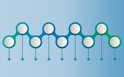 传染媒介infographics时间安排与3D纸标签的设计模板 库存例证