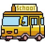 传染媒介pixel art van school 库存照片