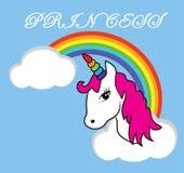 传染媒介Unicorn In The Sky公主 免版税库存照片