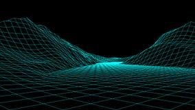 传染媒介wireframe 3d风景 栅格例证 库存例证