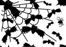 传染媒介万圣夜棒和蜘蛛背景 免版税图库摄影