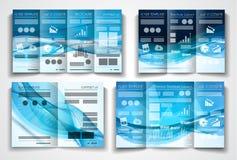 传染媒介三部合成的小册子模板设计或飞行物布局 向量例证