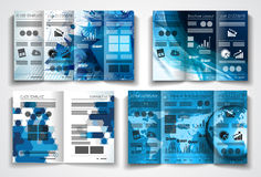 传染媒介三部合成的小册子模板设计或飞行物布局 库存例证