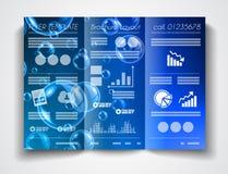 传染媒介三部合成的小册子模板设计或飞行物布局 免版税库存图片