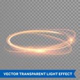 传染媒介不可思议的金圈子 发光的火圆环 闪烁闪闪发光漩涡 免版税库存图片