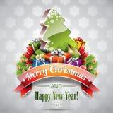 传染媒介与不可思议的树的圣诞节例证。 免版税库存图片