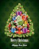 传染媒介与不可思议的树的圣诞节例证 库存照片