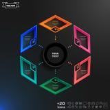 传染媒介与五颜六色的rhombs的infographics设计 库存图片