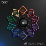 传染媒介与五颜六色的rhombs的infographics设计 免版税库存照片