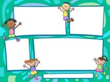 传染媒介与动画片孩子的小册子背景 Infographic模板设计 免版税库存照片