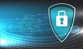 传染媒介与各种各样技术安全技术设计在蓝色背景,微船 免版税图库摄影