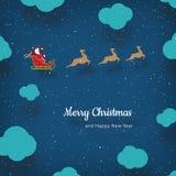 传染媒介与圣诞老人和驯鹿的圣诞卡 免版税图库摄影