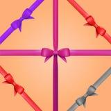 传染媒介与弓集合的礼物丝带 免版税库存照片